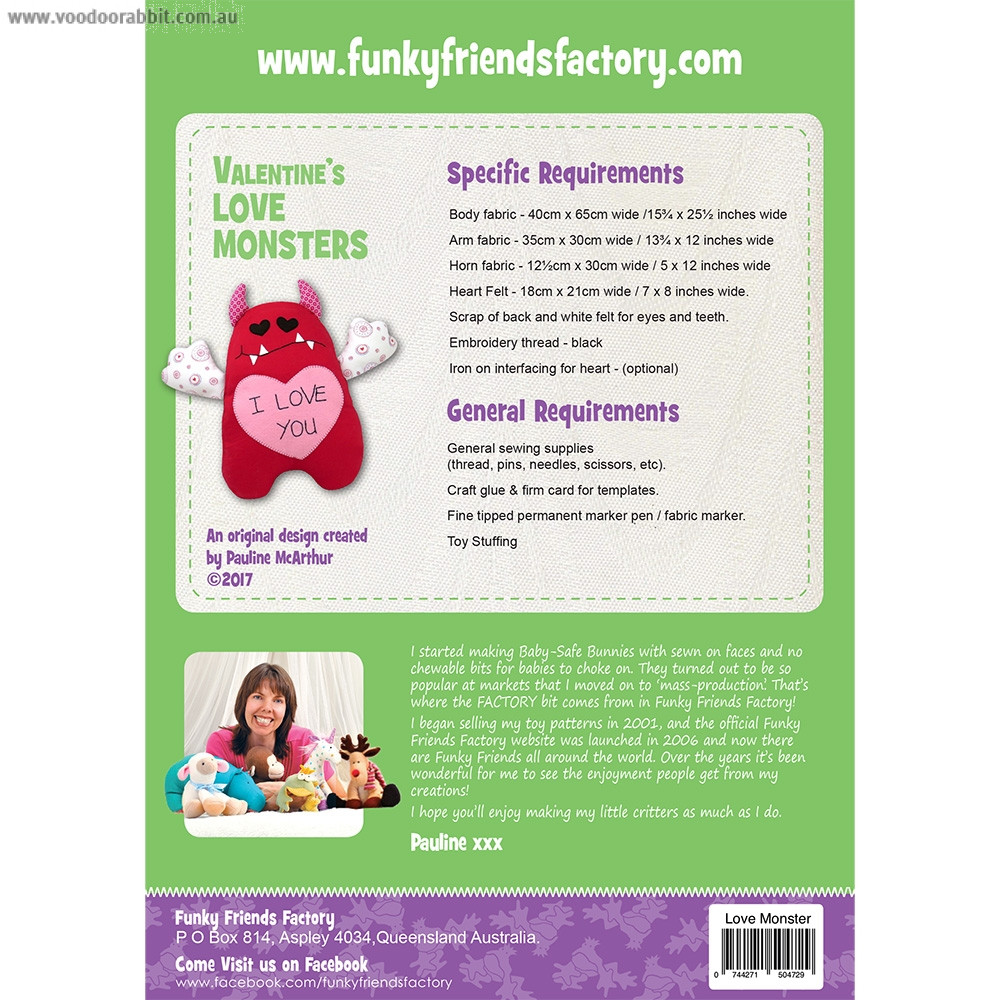 Valentine's Love Monster Soft Toy Sewing Pattern by Funky Friends Factory