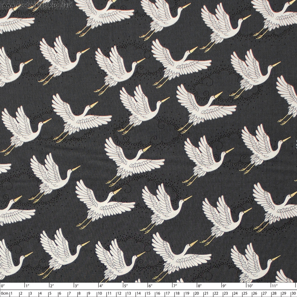 Kimono Cranes Grey by Makower UK