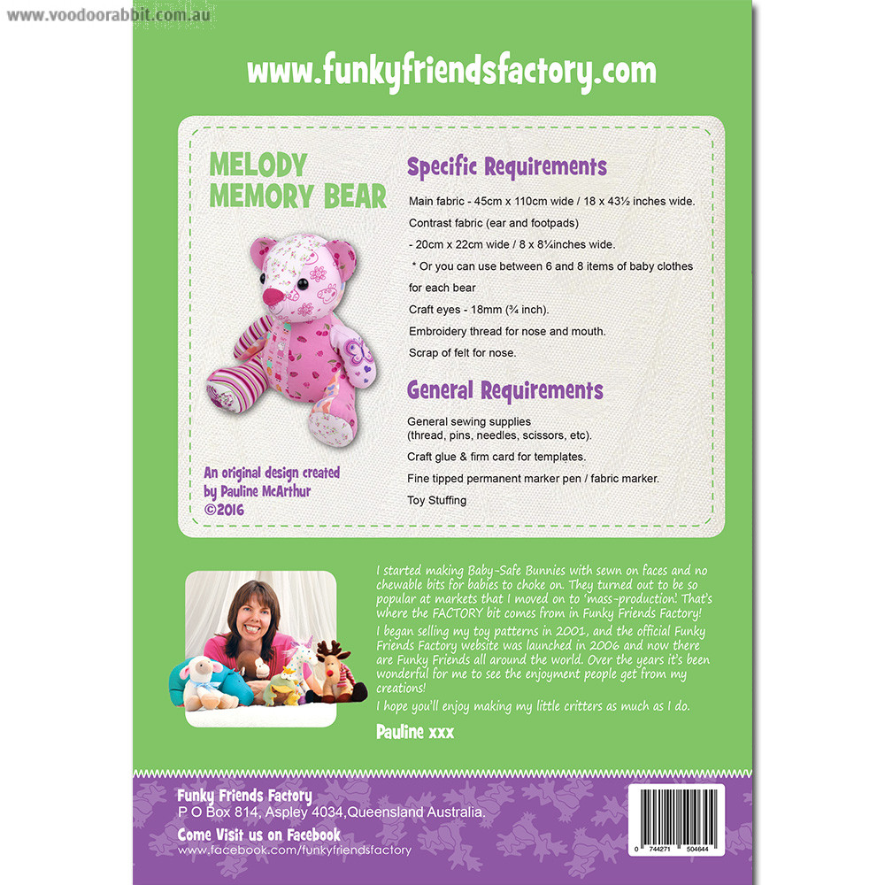 Funky Friends Factory Melody Memory Bear Soft Toy Sewing Pattern