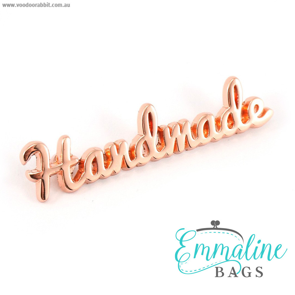 Emmaline Bags Metal Bag Label: Script Style Handmade Copper (Rose Gold)