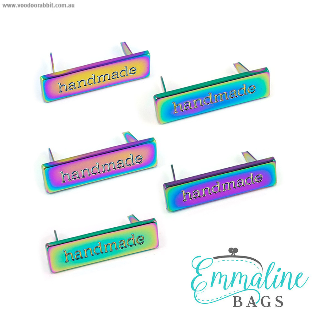 Emmaline Bags Metal Bag Label: Handmade Iridescent Rainbow