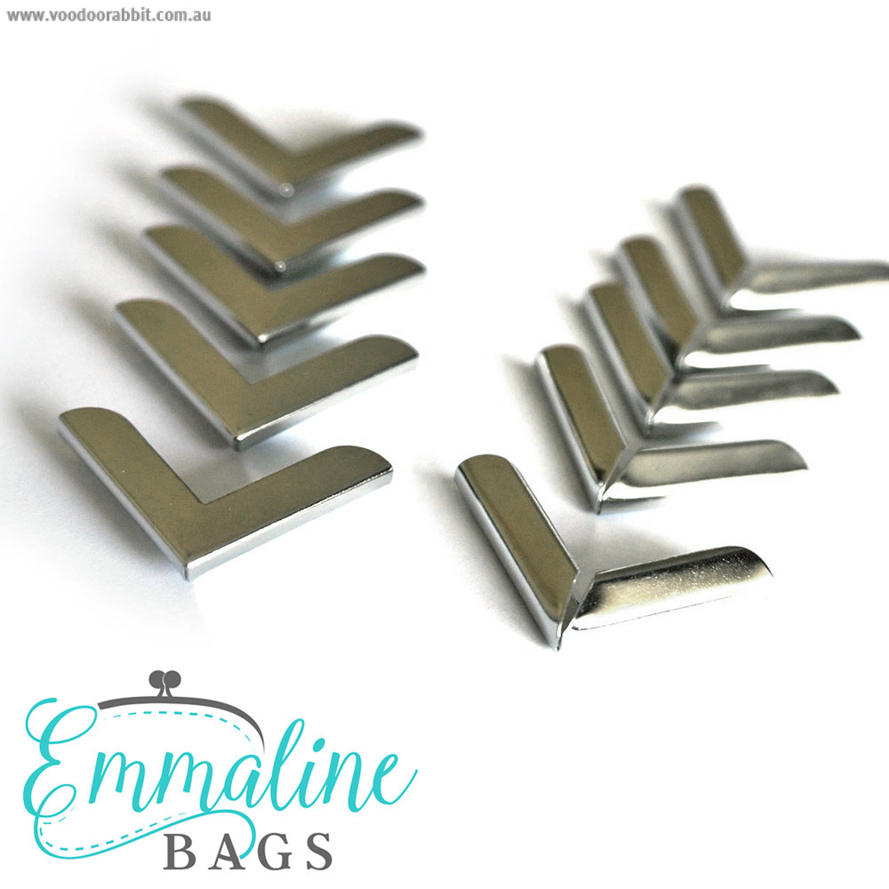 """Emmaline Bags Metal Corners 25mm (1"""") for Purses Silver (10 Pack)"""