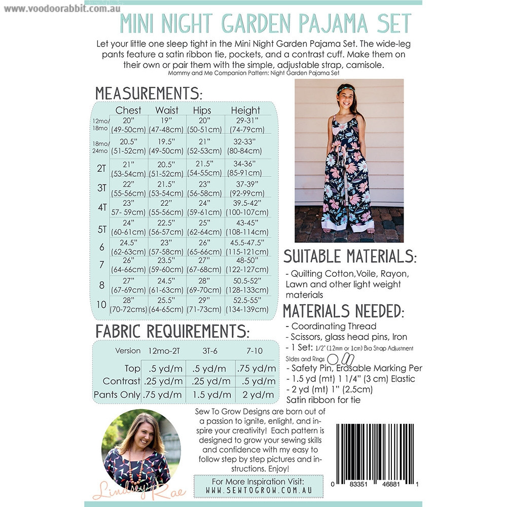 Mini Night Garden Pajama Set Sewing Pattern by Sew To Grow