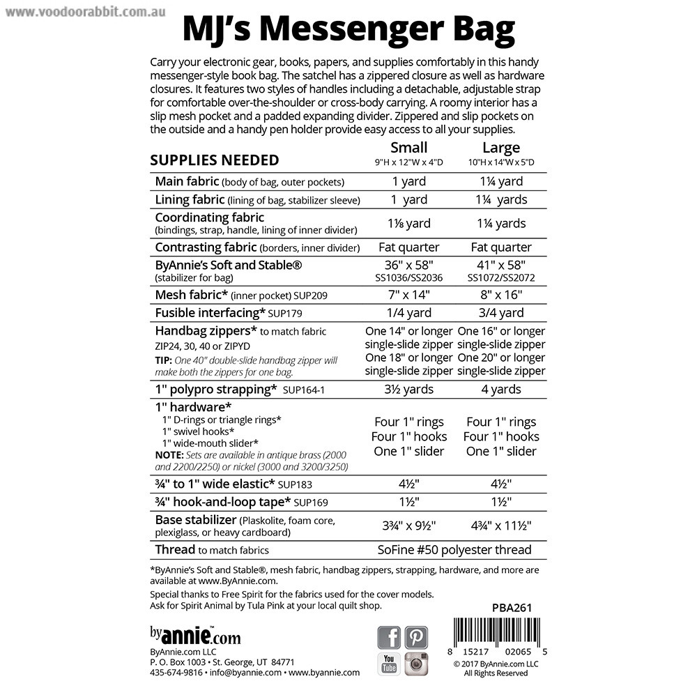 MJ\'s Messenger Bag Sewing Pattern from byAnnie | Alternative cool ...