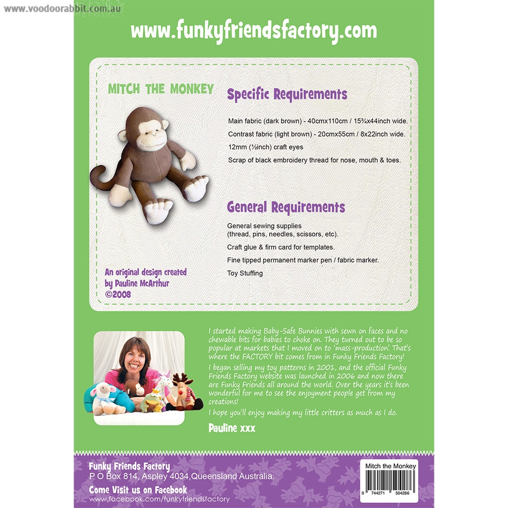 Mitch the Monkey Soft Toy Sewing Pattern by Funky Friends Factory