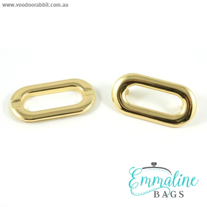 Emmaline Bags Oval Shaped Metal Grommet with Prongs 25mm Gold - 4pk
