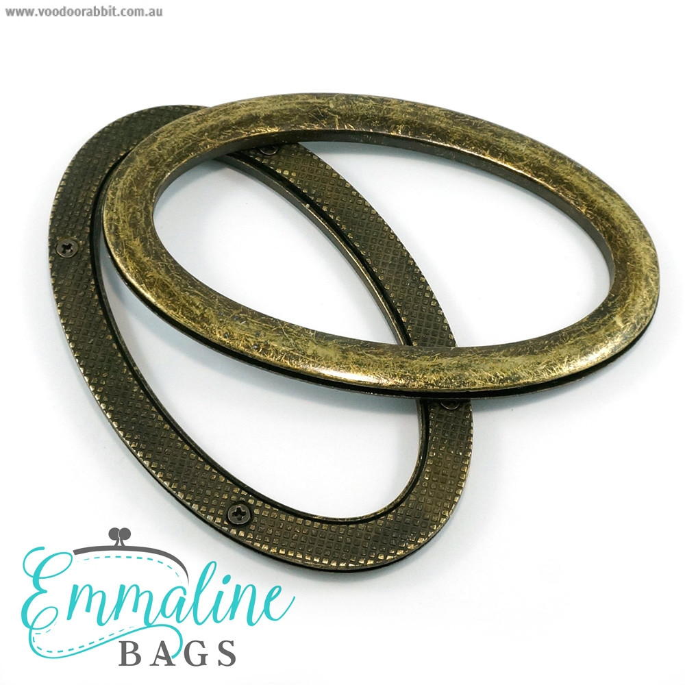 Emmaline Bags Oval Grommet Bag Handles Antique Brass - 1 Pair with Screws