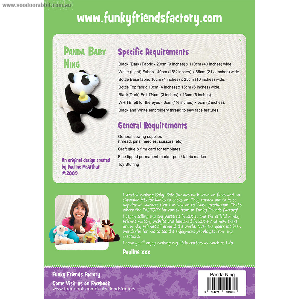 Panda Baby Ning Soft Toy Sewing Pattern by Funky Friends Factory