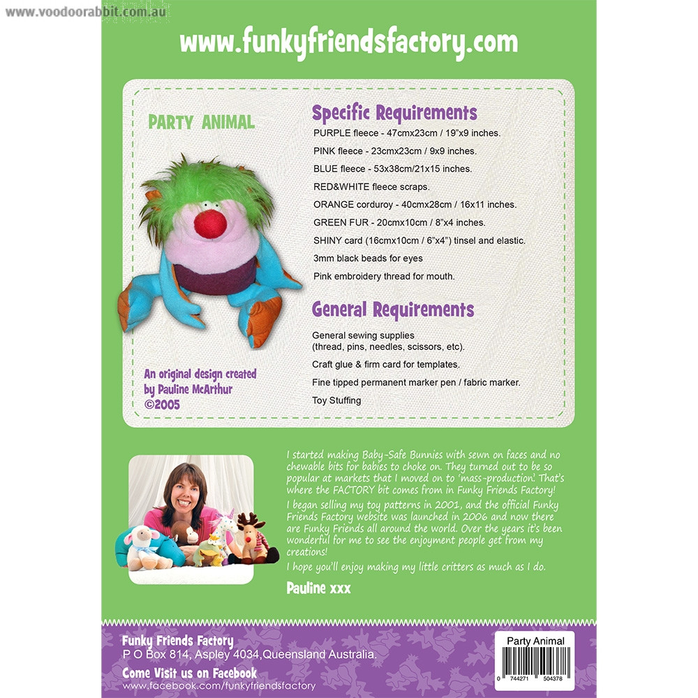 Party Animal Soft Toy Sewing Pattern by Funky Friends Factory