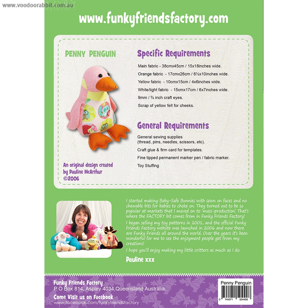 Penny Penguin Soft Toy Sewing Pattern by Funky Friends Factory