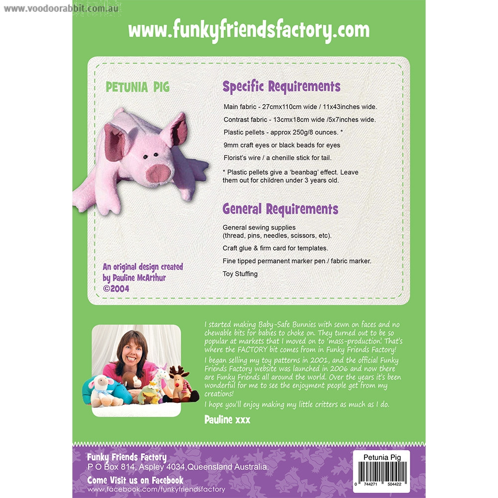 Petunia Piglet Soft Toy Sewing Pattern by Funky Friends Factory