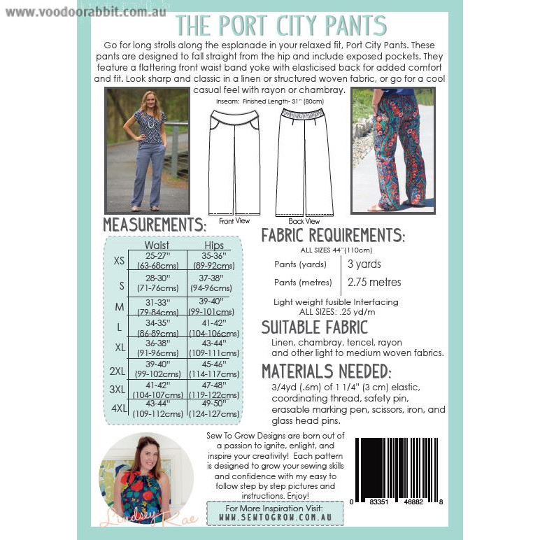 The Port City Pants Sewing Pattern by Sew To Grow | Alternative cool ...