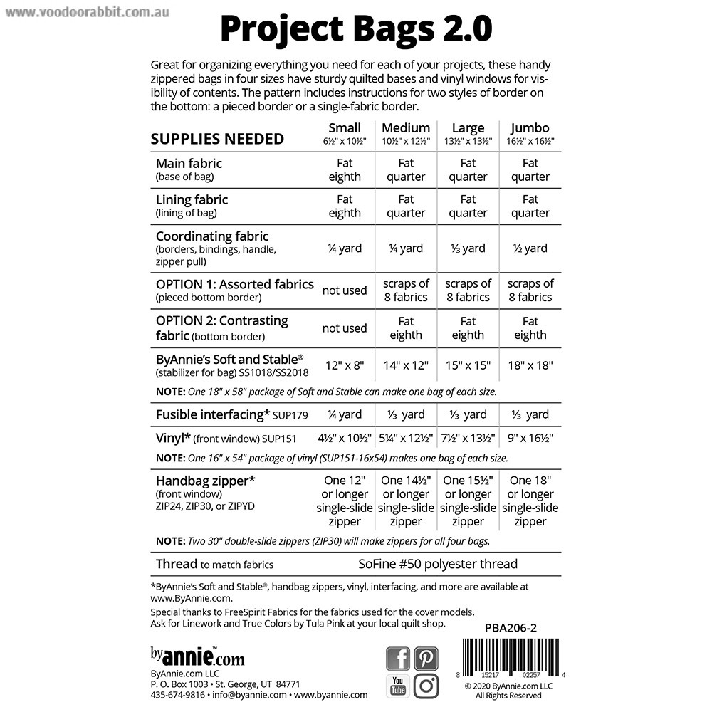 Project Bags 2.0 Sewing Pattern from byAnnie