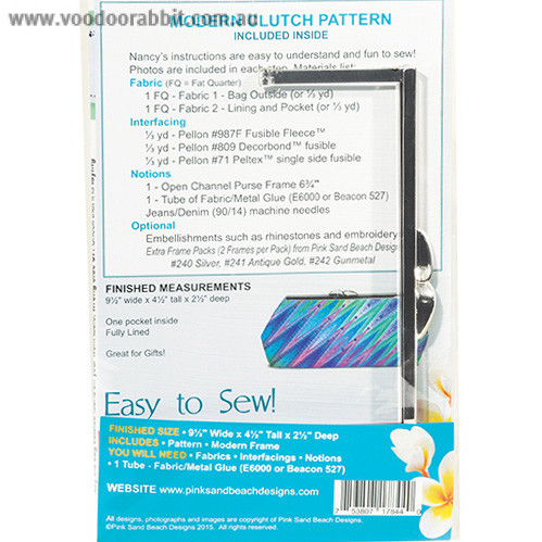 Modern Clutch Starter Pack (Purse Sewing Pattern with 1 Silver Frame) by Pink Sand Beach Designs