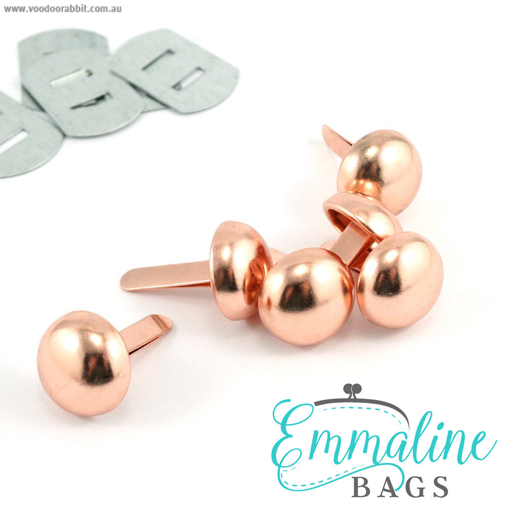 """Emmaline Bags Small Domed Purse Feet 12mm (1/2"""") Copper (Rose Gold) - 6pk"""