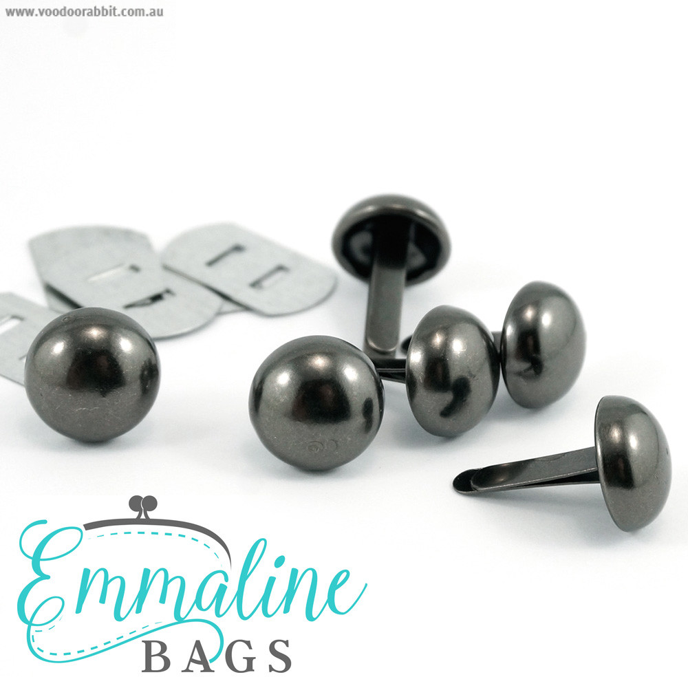 "Emmaline Bags Small Domed Purse Feet 12mm (1/2"") Gunmetal – 6pk"