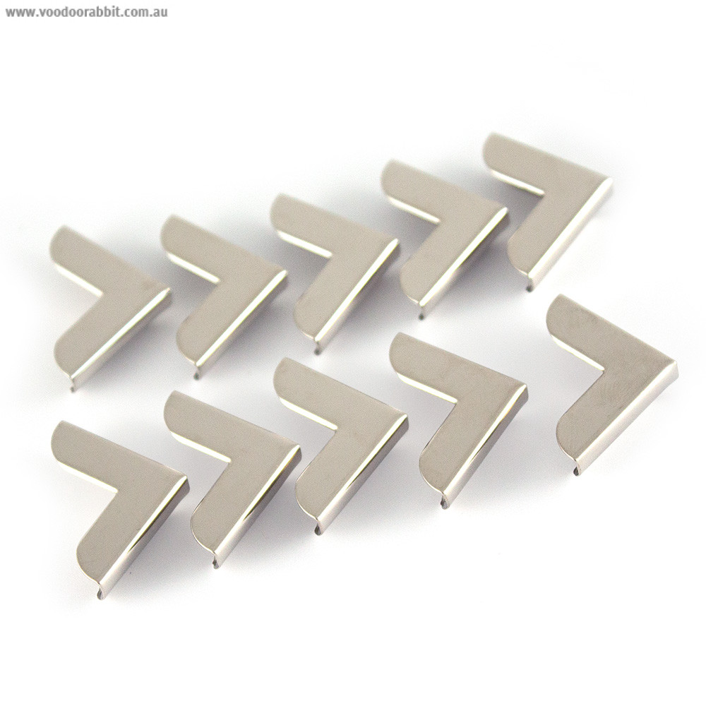 """Emmaline Bags Metal Corners 20mm (3/4"""") for Purses Silver (10 Pack)"""