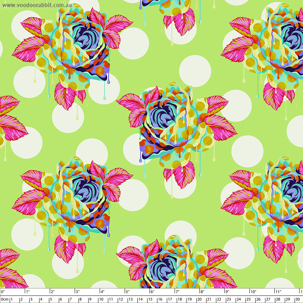 Tula Pink Curiouser and Curiouser Painted Roses Sugar Green By Free Spirit Fabric