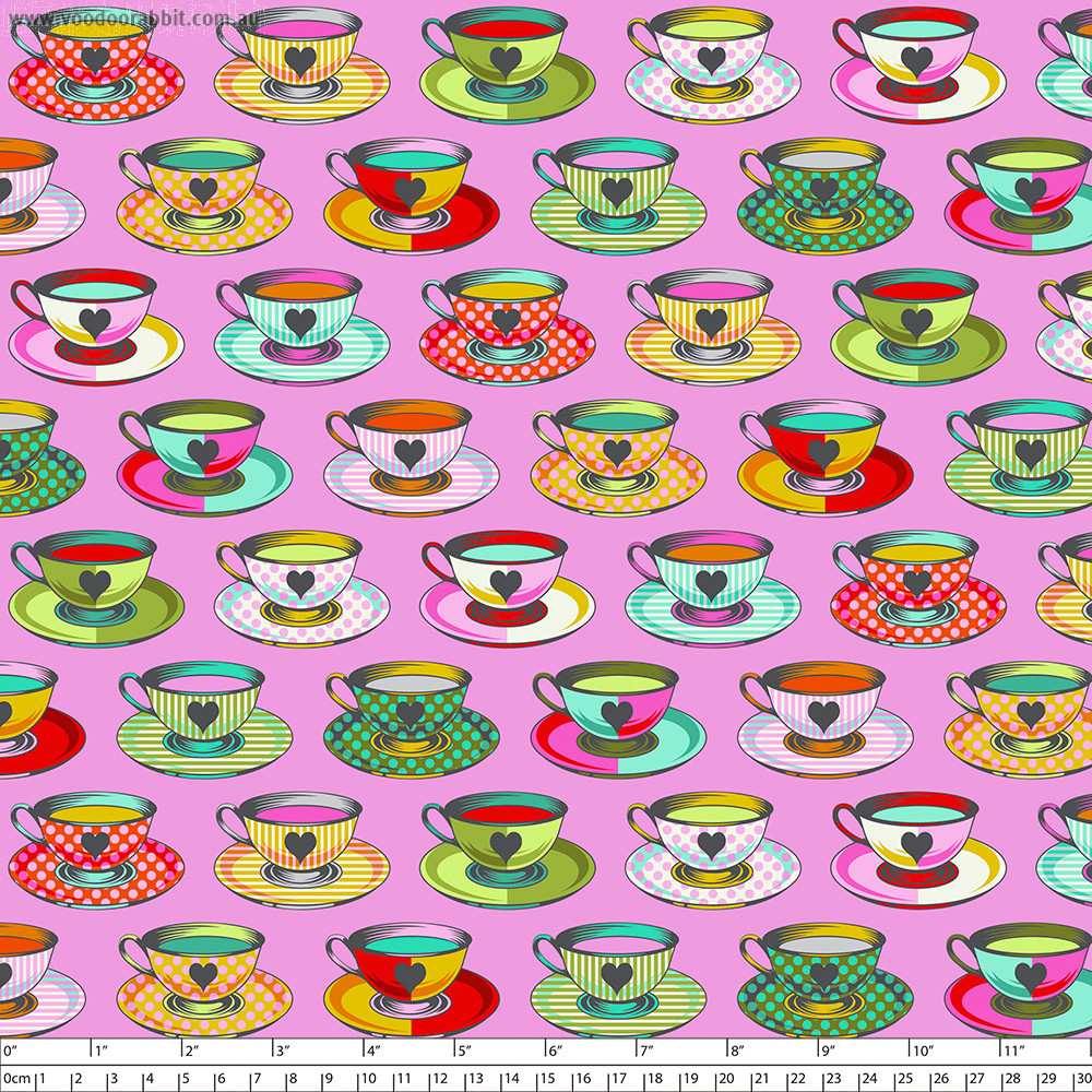 Tula Pink Curiouser and Curiouser Tea Time Wonder Pink By Free Spirit Fabric
