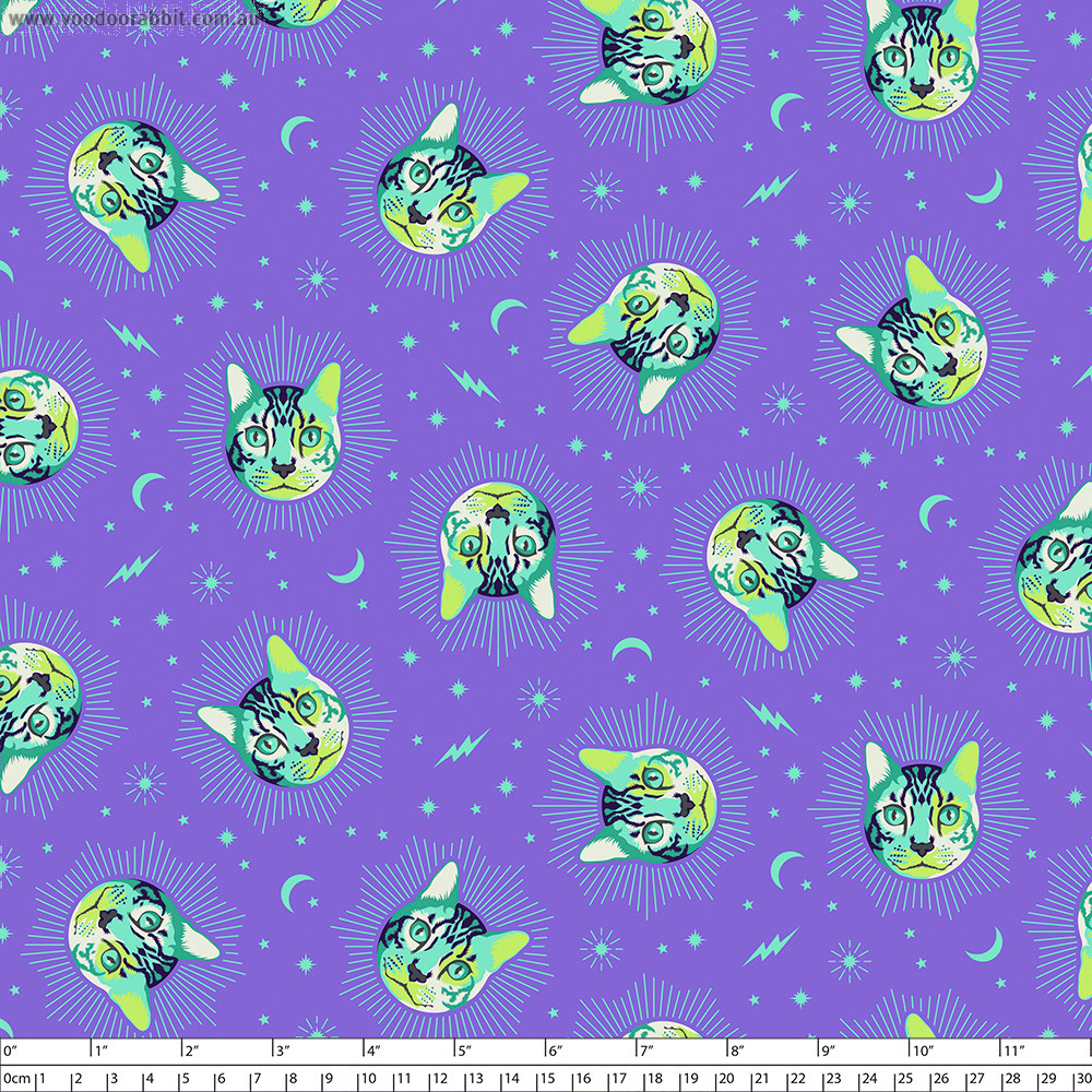 Tula Pink Curiouser and Curiouser Cheshire Daydream Purple By Free Spirit Fabric