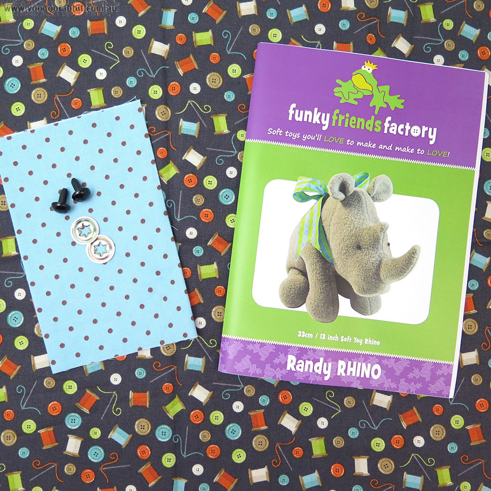 Funky Friends Factory Randy Rhino Navy Buttons Soft Toy Making Kit