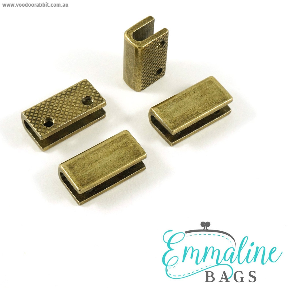 "Emmaline Bags Strap End Cap Rectangular 20mm (3/4"") Antique Brass - 4pk"