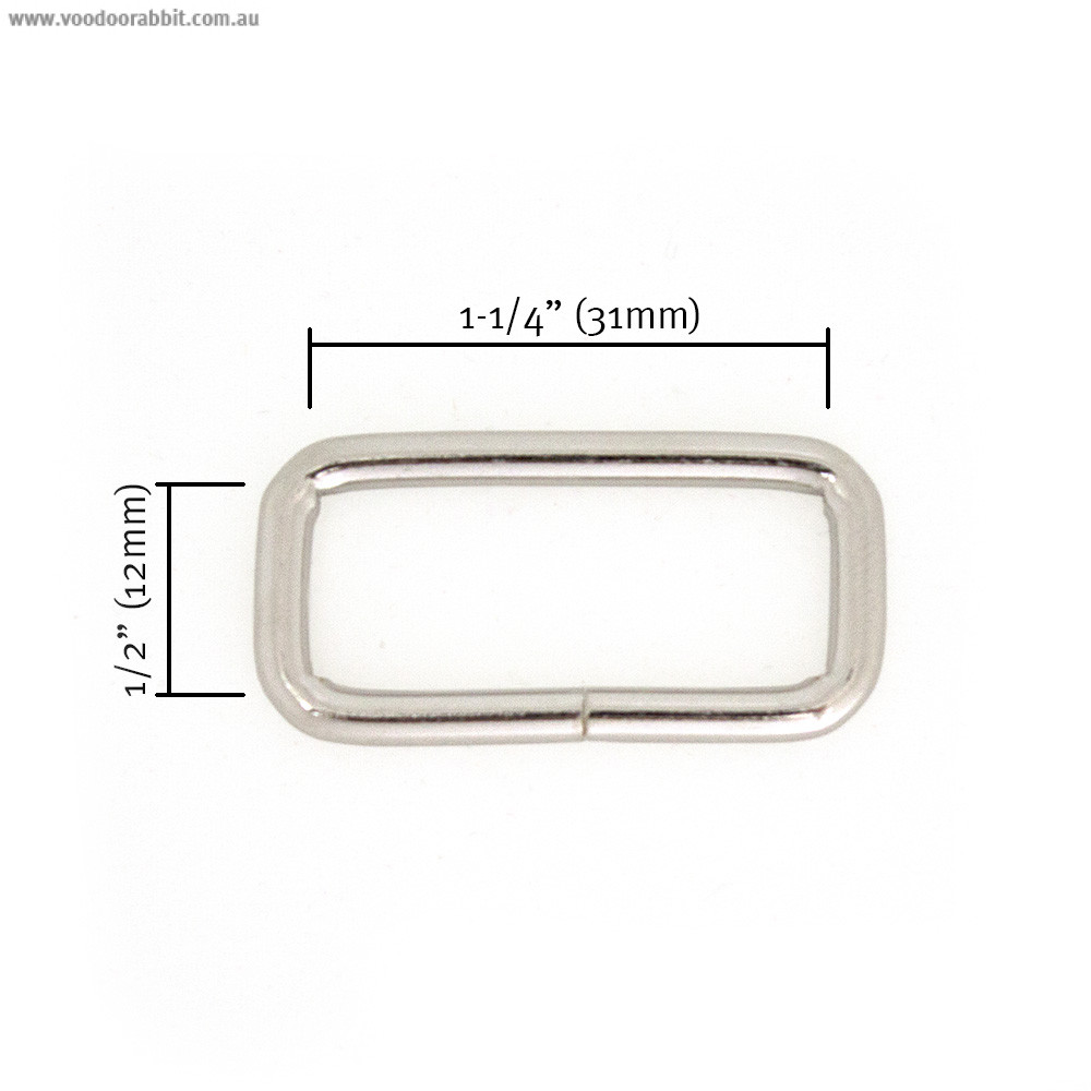 "Voodoo Bag Hardware Rectangular Wire Rings 31mm (1-1/4"") Silver - 4 pk"