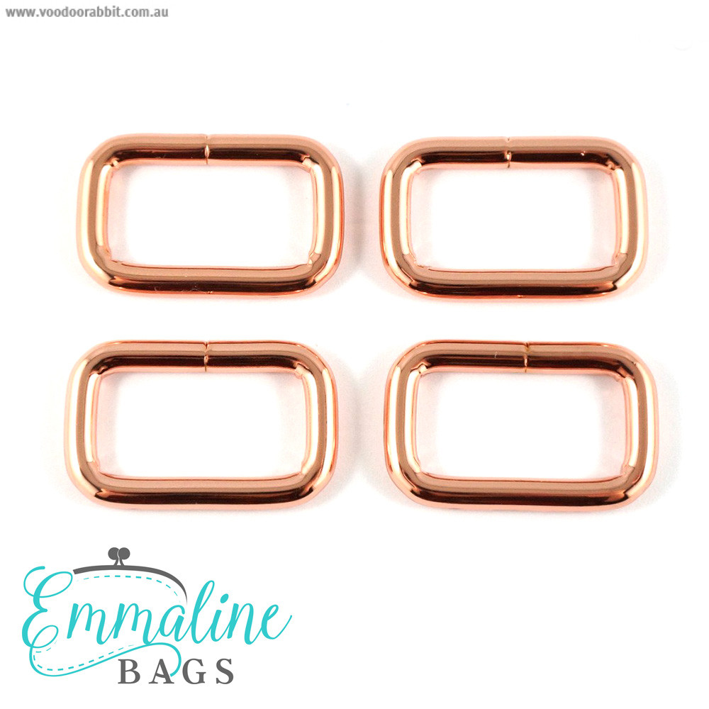 "Emmaline Bags Rectangular Rings 25mm (1"") Copper (Rose Gold) - 4pk"