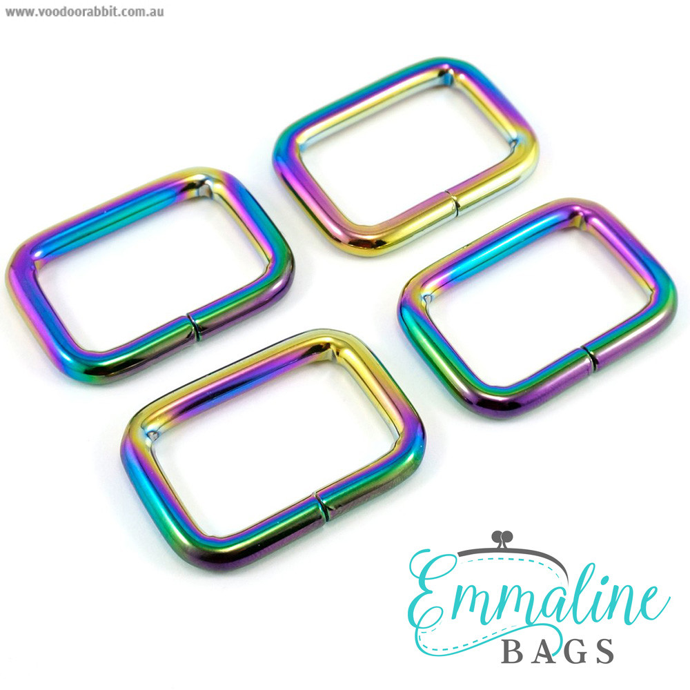 "Emmaline Bags Rectangular Rings 25mm (1"") Iridescent Rainbow - 4pk"