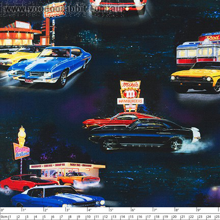 On the Road Muscle Cars Black by Robert Kaufman Fabric