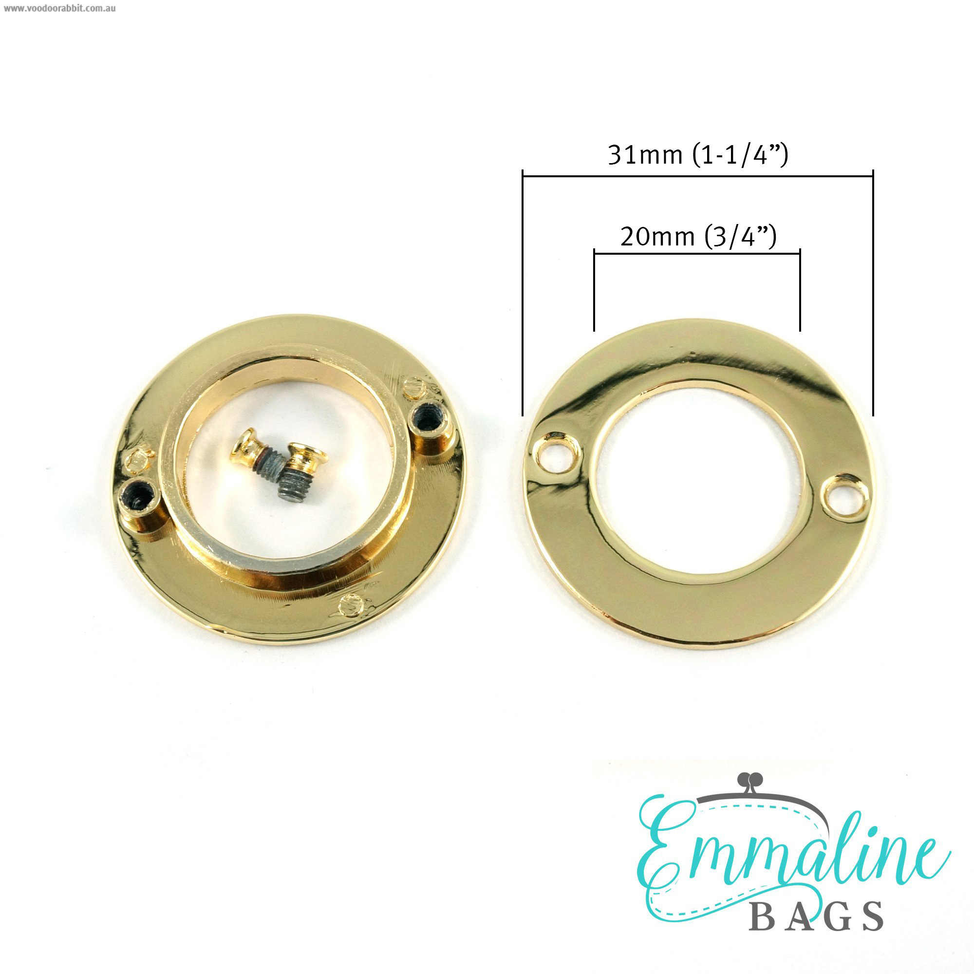 "Emmaline Bags Screw Together Grommets 20mm (3/4"") Round in Gold - 4pk"