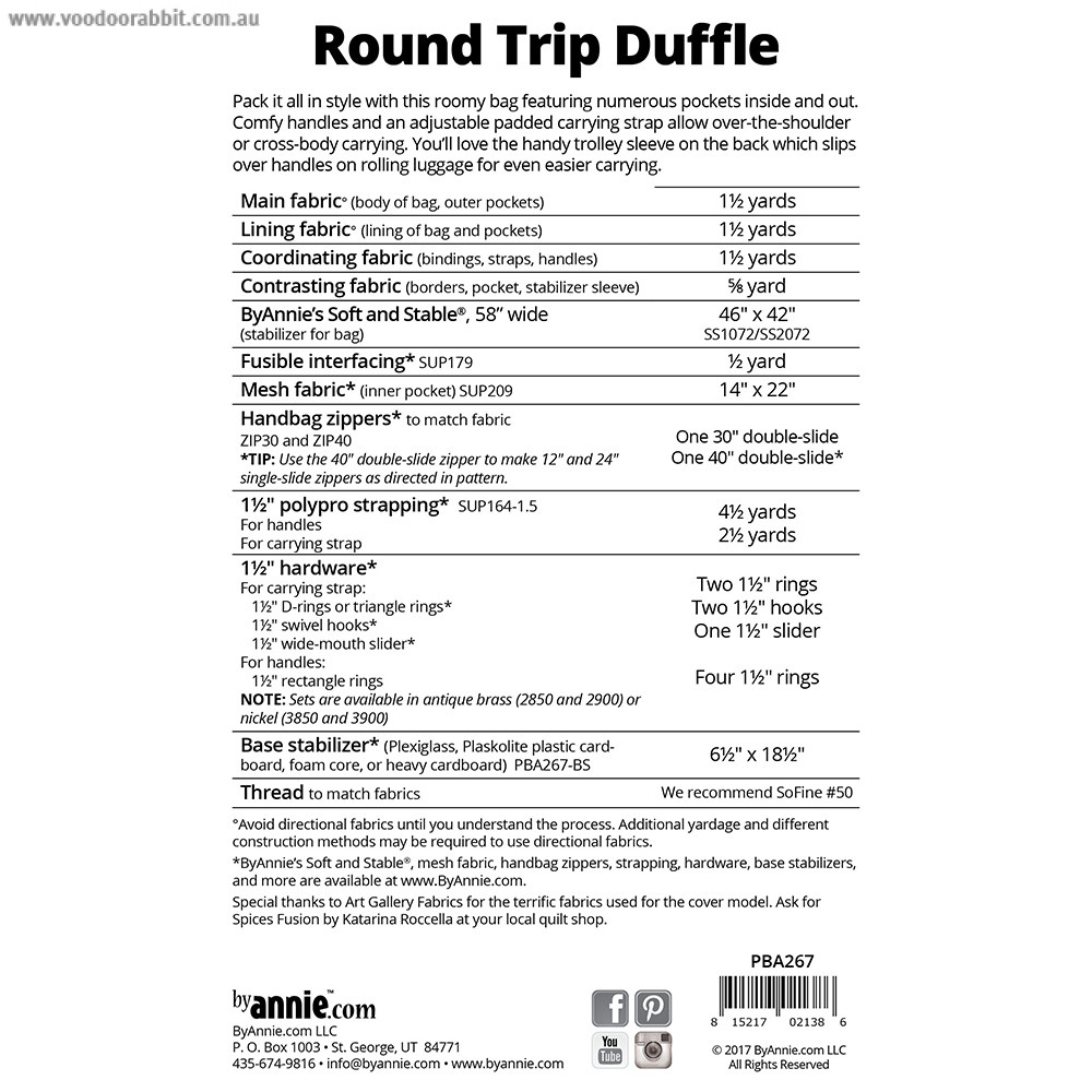 Round Trip Duffle Sewing Pattern from byAnnie