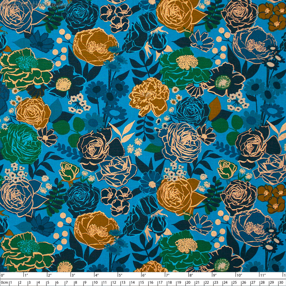 Ruby Star Society Rise Grow (Small Floral) Bright Blue by Moda Fabrics
