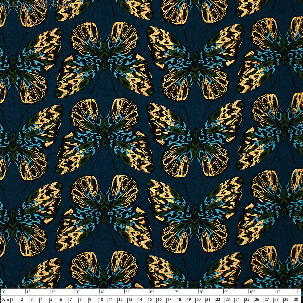 Ruby Star Society Tiger Fly Queen Butterfly Metallic Dark Teal by Moda Fabrics