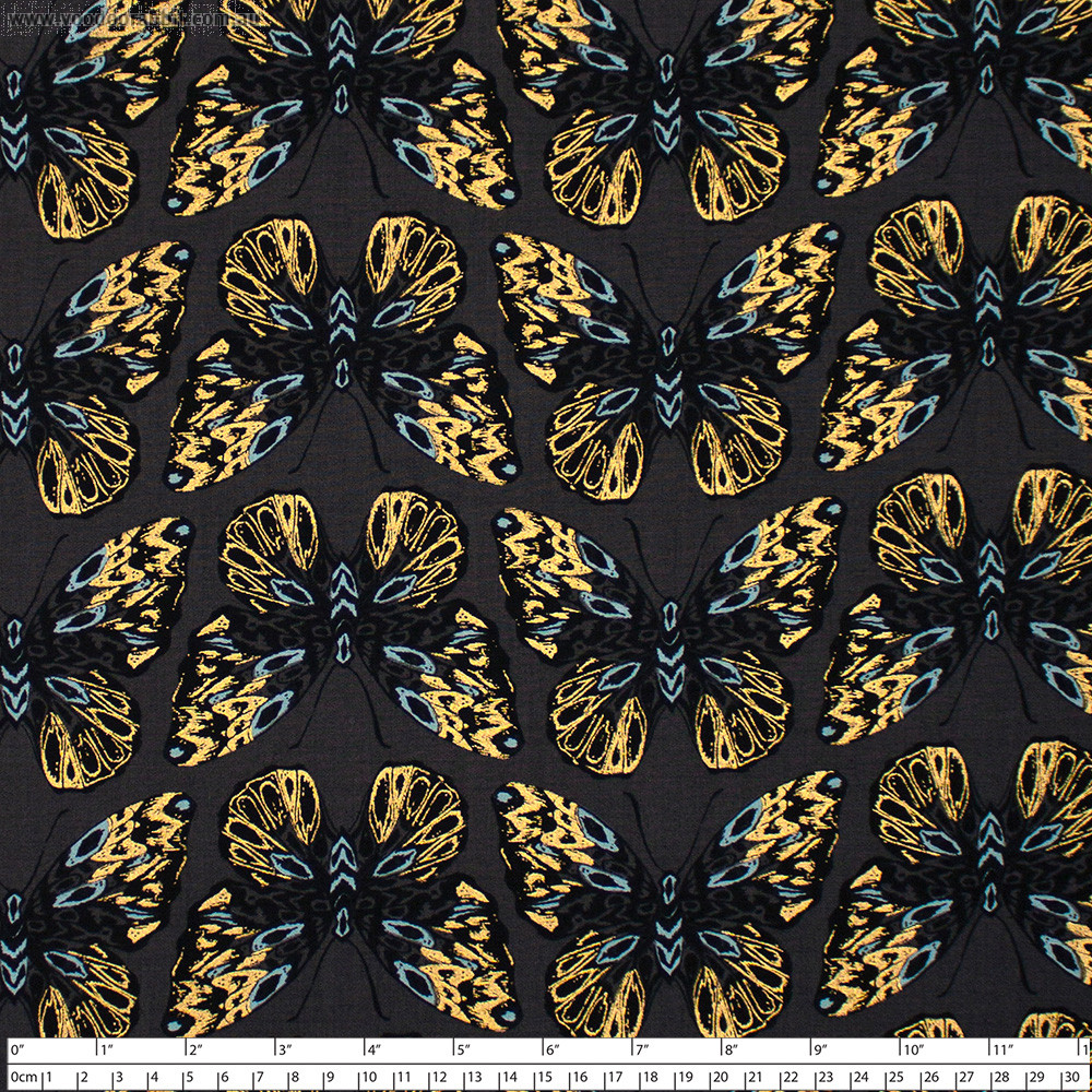 Ruby Star Society Tiger Fly Queen Butterfly Metallic Ash by Moda Fabrics