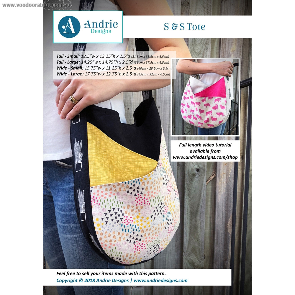 S & S Tote Bag Sewing Pattern by Andrie Designs