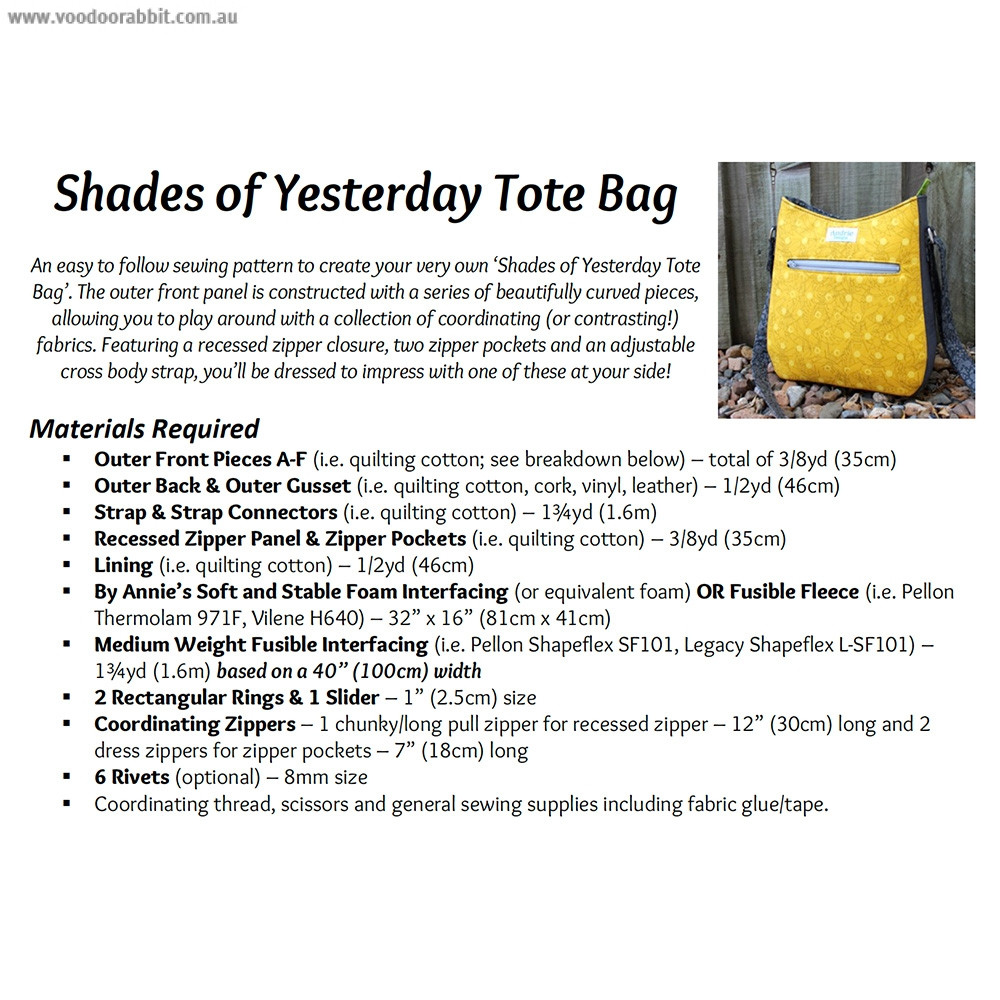 Shades of Yesterday Tote Bag Sewing Pattern by Andrie Designs