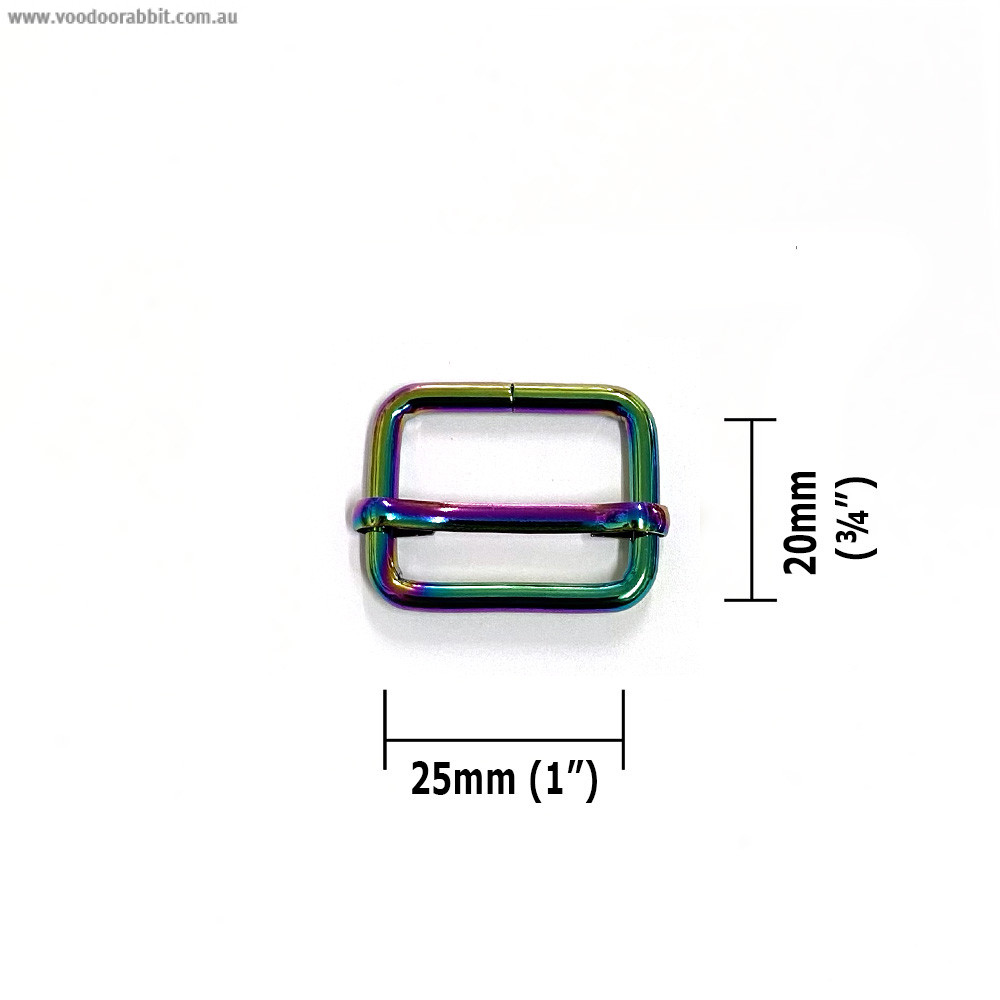 "Voodoo Bag Hardware Slide Adjusters 25mm (1"") Iridescent Rainbow 2pk"
