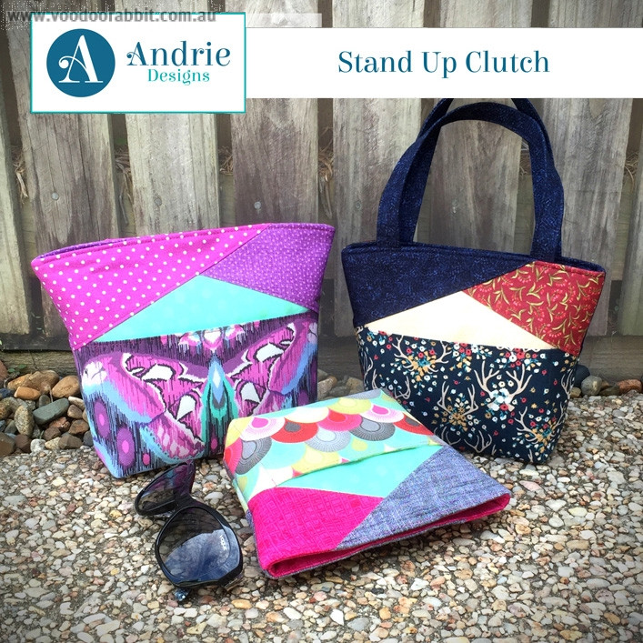 Stand Up Clutch Sewing Pattern by Andrie Designs
