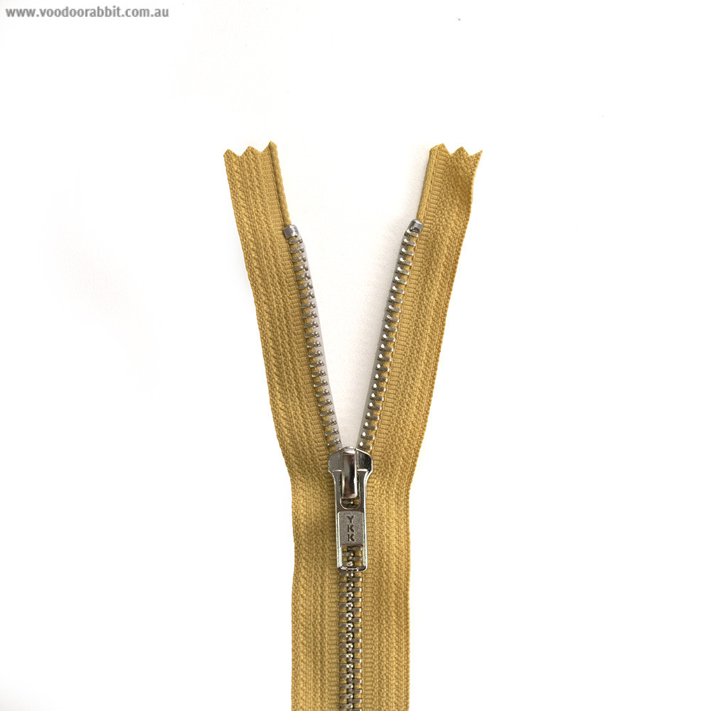 "YKK Metal Zipper Mustard 14"" - 22"" by Riley Blake Designs"