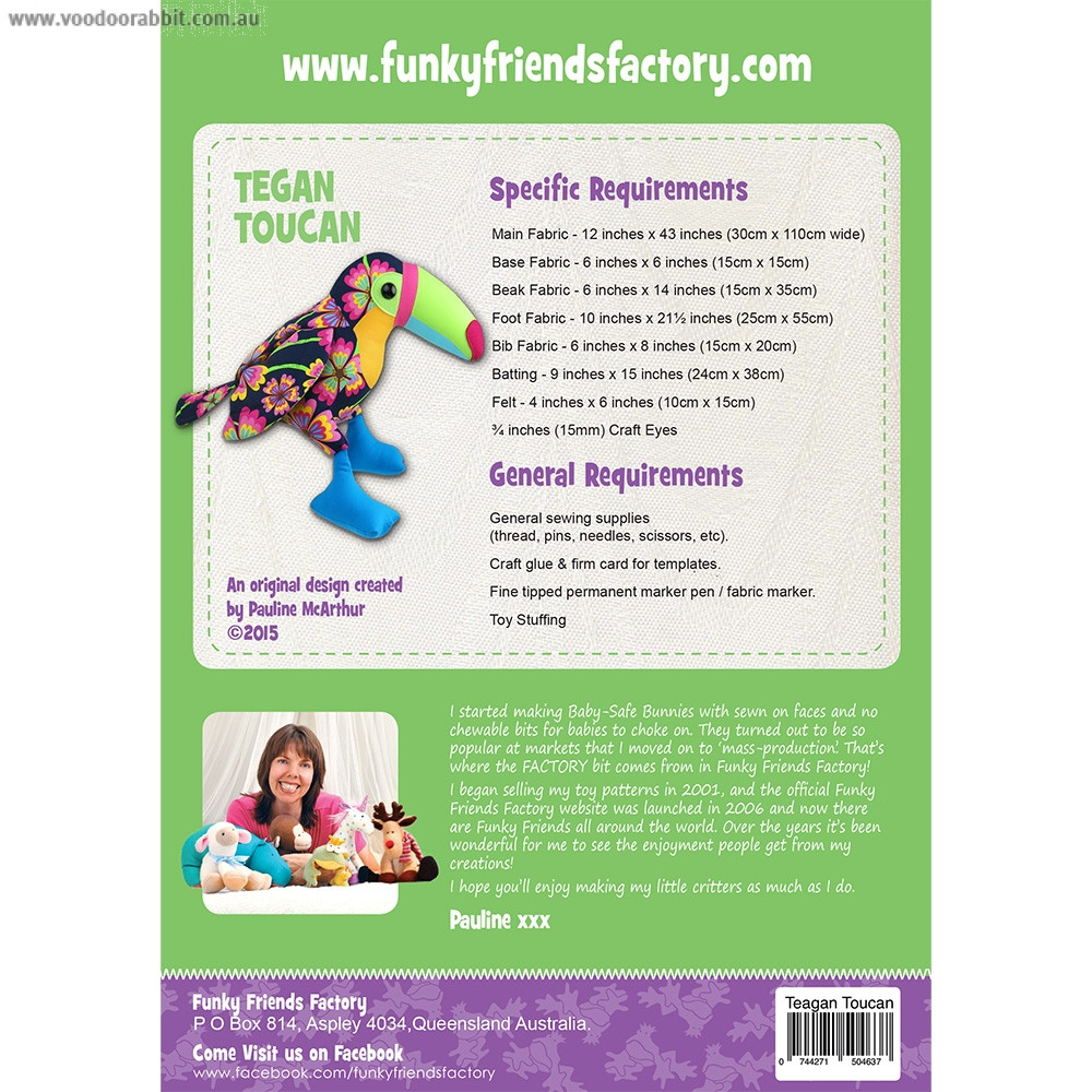 Tegan Toucan Soft Toy Sewing Pattern by Funky Friends Factory