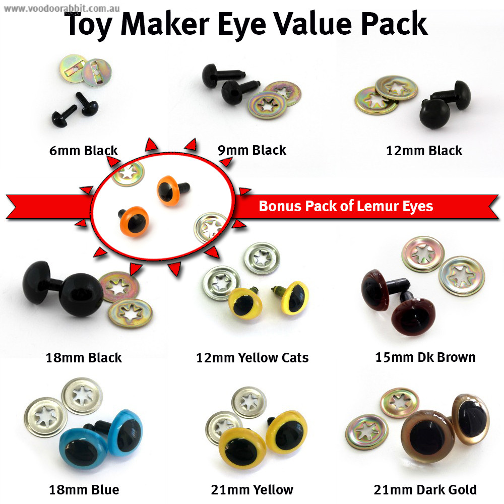 Toy Maker Eye Value Pack (with free lemur eyes EXCLUSIVE for Sew Many Funky Friends Club)