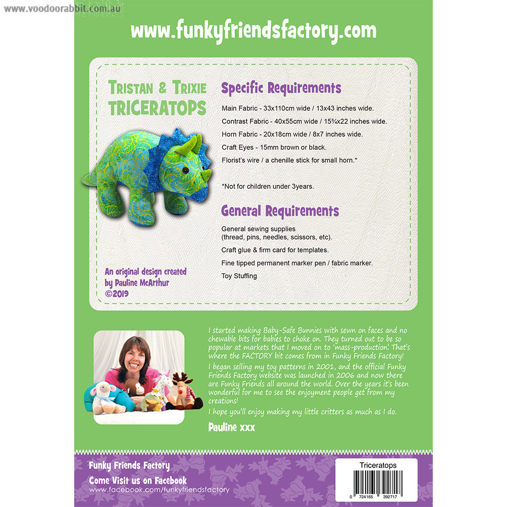Trixie Triceratops Soft Toy Sewing Pattern by Funky Friends Factory