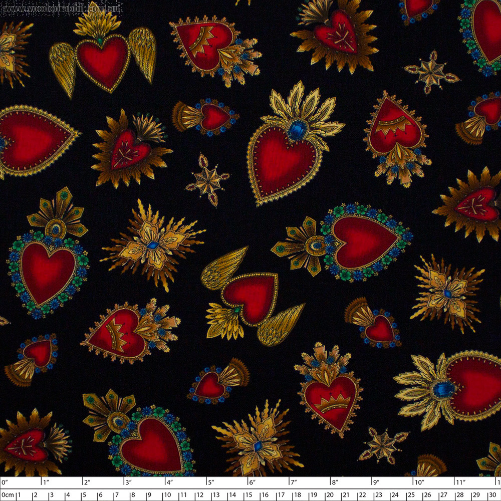 Sacred Hearts Black by Timeless Treasures