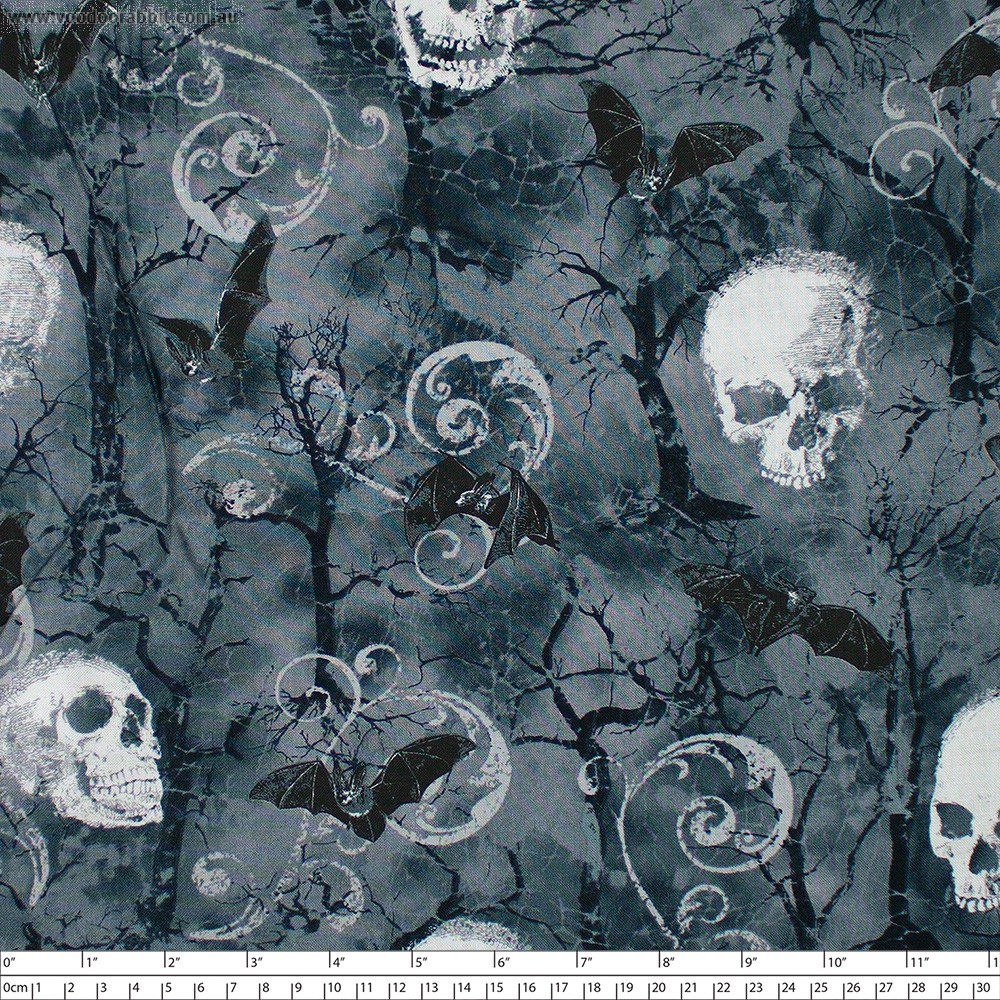 Wicked Skulls and Bats Grey by Timeless Treasures