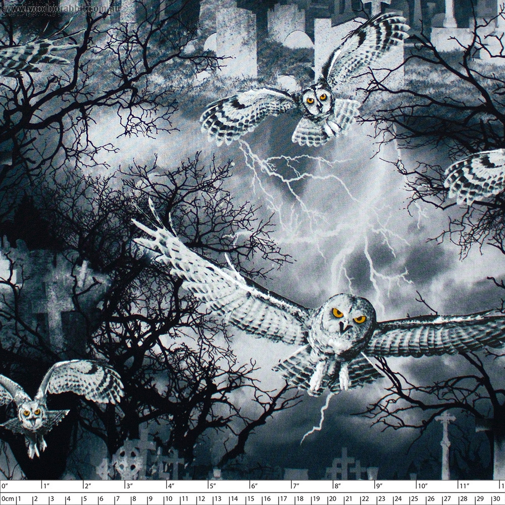 Wicked Owls in the Graveyard Grey by Timeless Treasures