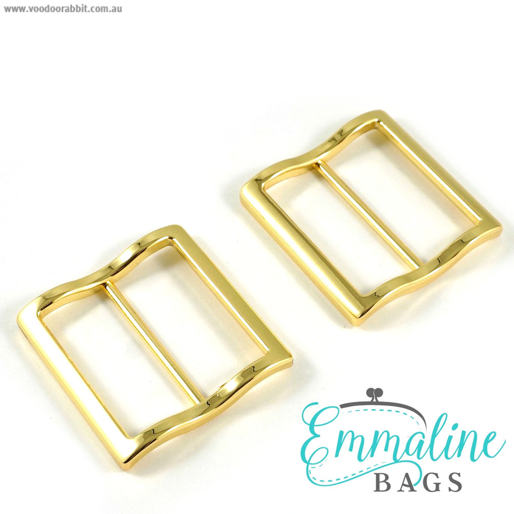 """Emmaline Bags Wide Mouth Strap Sliders (Extra Wide) For thicker straps 40mm (1-1/2"""") Gold - 2pk"""