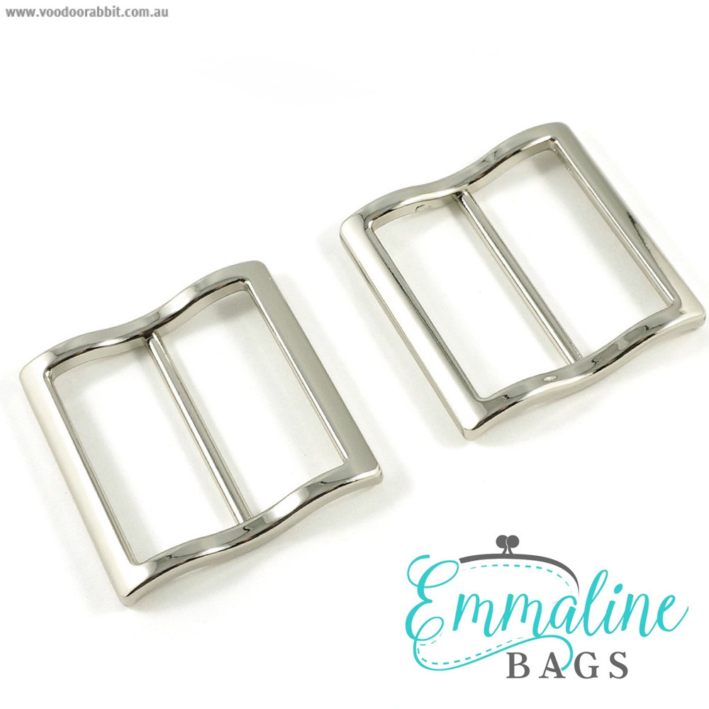 """Emmaline Bags Wide Mouth Strap Sliders (Extra Wide) For thicker straps 40mm (1-1/2"""") Silver - 2pk"""