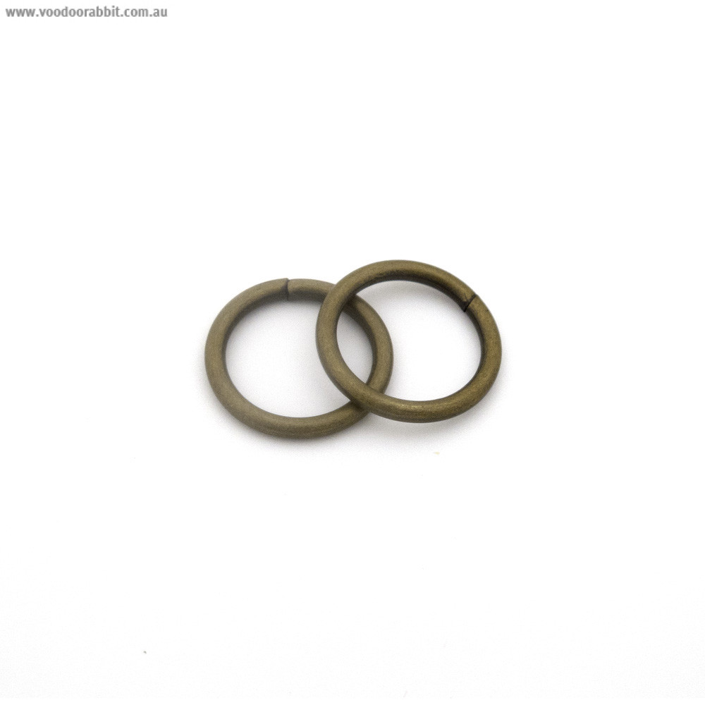 "Voodoo Bag Hardware Wire O-Ring 15mm (5/8"") Antique Brass - 4pk"