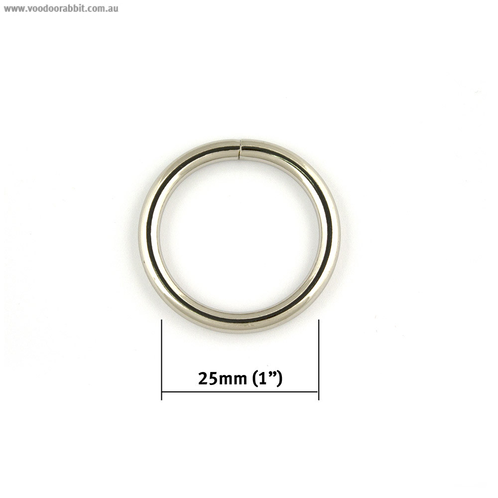 "Voodoo Bag Hardware Wire O-Ring 25mm (1"") Silver - 4pk"